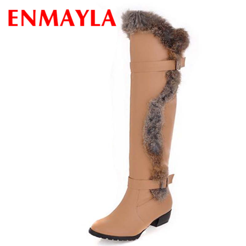 ENMAYLA Rabbit Fur Warm Long Boots Women Round Toe Low Heels Knee High Boots Women Buckle Winter Shoes Woman Boots sexy pointy toe black brown cowhide stitching rabbit fur women knee high heels boots 2016 winter new hot sale female shoes