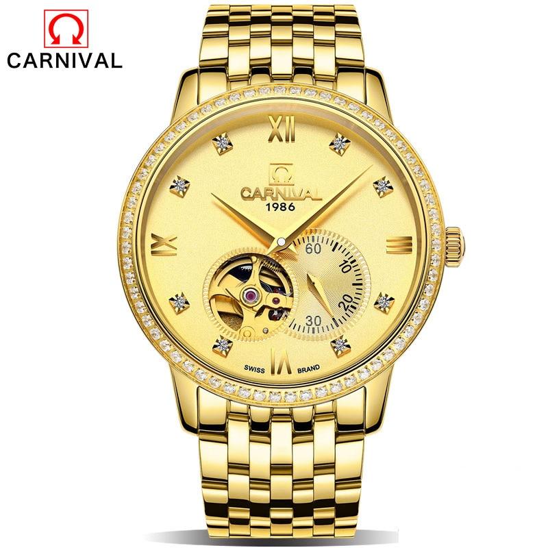 New Steel Bracelet Rhinestone Skeleton Watch Brand Luxury Full Golden Bell Men's Automatic Mechanical Watches Sport Design Clock