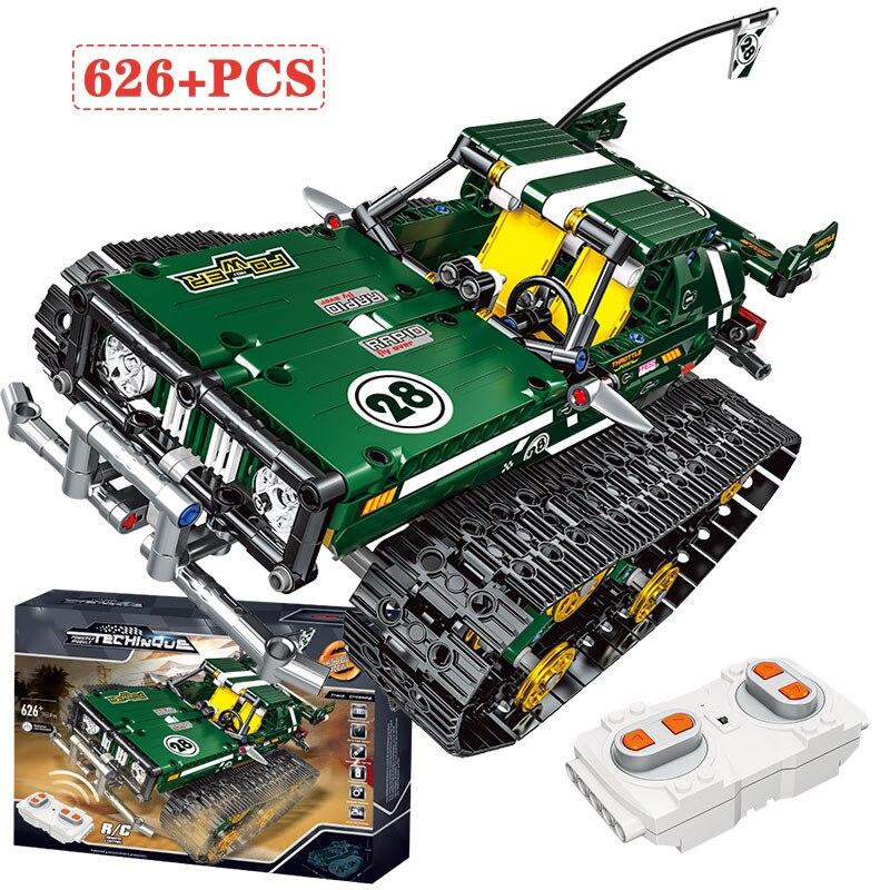 City Remote Control Technic Suspension Tracked Racer Car Building Blocks Bricks Toys For Kids Compatible Technik