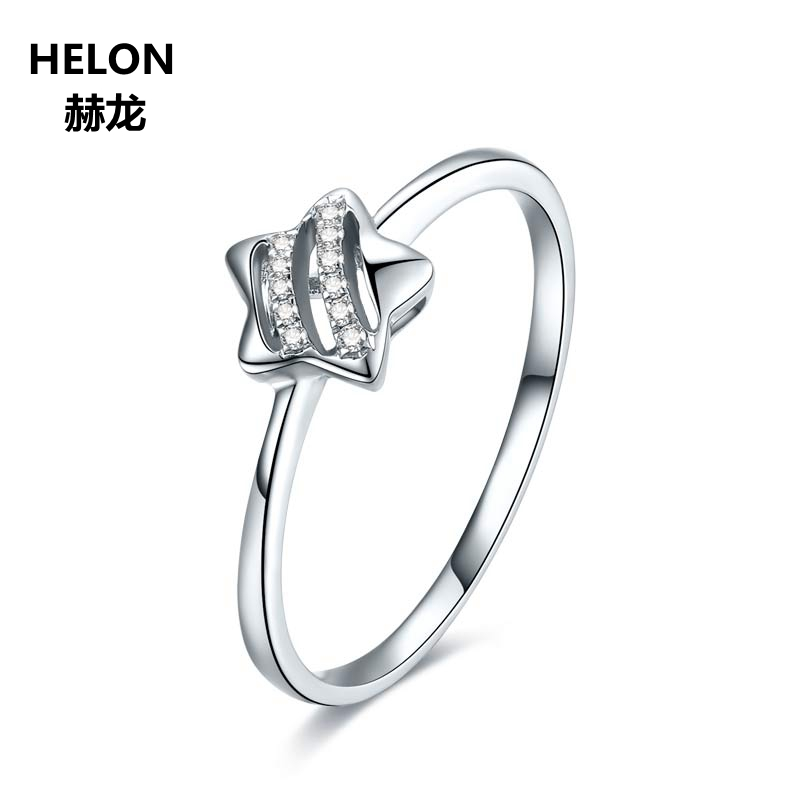 100 SI H Natural Diamonds Engagement Ring for Women Solid 14k White Gold Wedding Anniversary Band