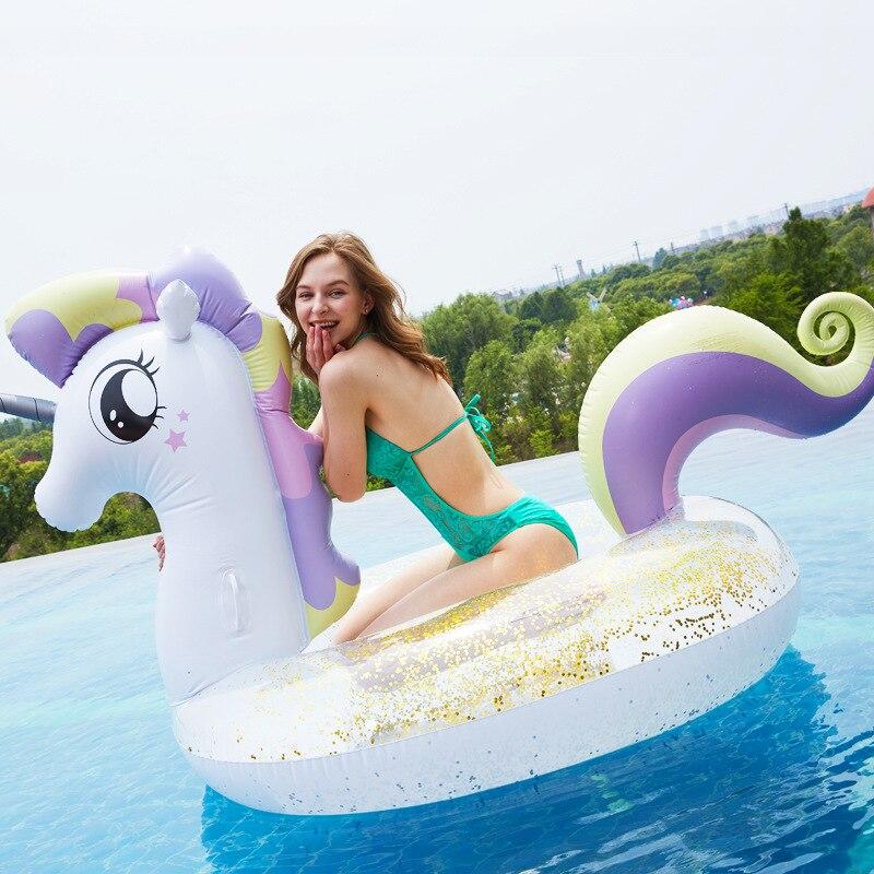Flamant rose Sequin licorne gonflable pégase piscine flotteur cristal anneau de natation bateau cercle pour mijoter tube piscine