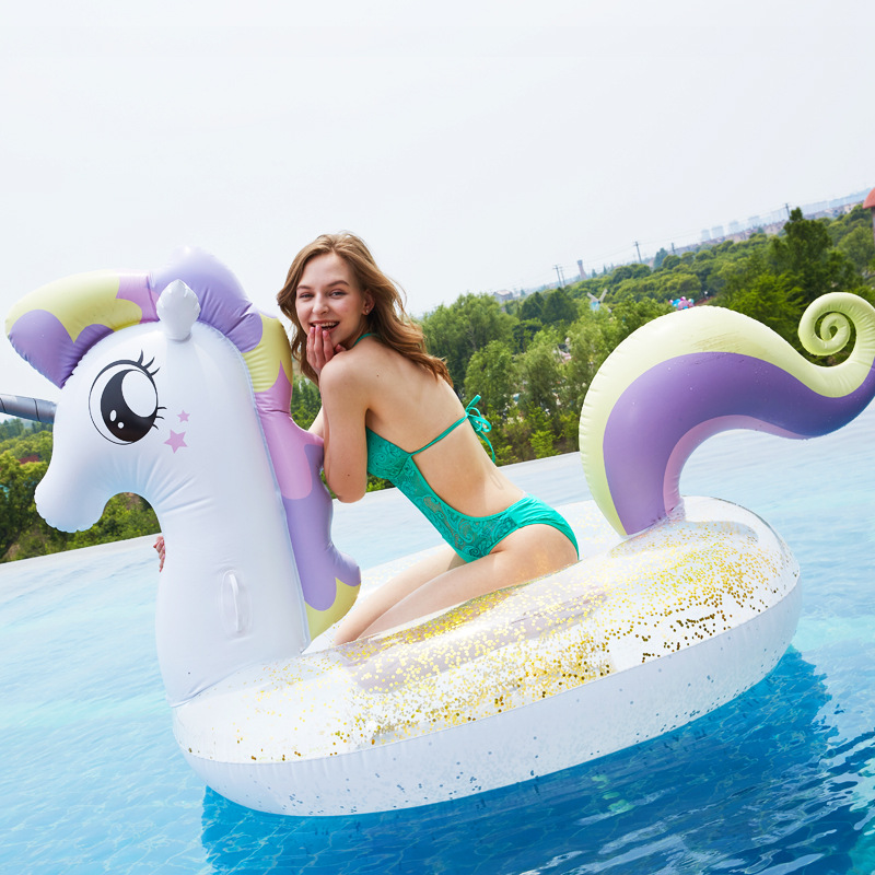 Flamingo Sequin Inflatable Unicorn Pegasus Swimming Pool Float Crystal Swimming Ring Boat Circle For Simming Tube Pool