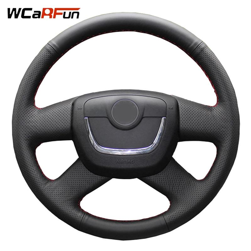 Black Artificial Leather Steering Wheel Cover for Skoda Octavia Superb 2012 Fabia Skoda Octavia a5 2012 2013 Yeti 2009-2013