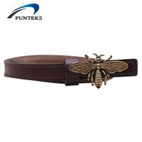 FUNTEKS Bee Buckle Leather Thin Belts For Women Vintage Bee Smooth Buckle Belt Women S Split
