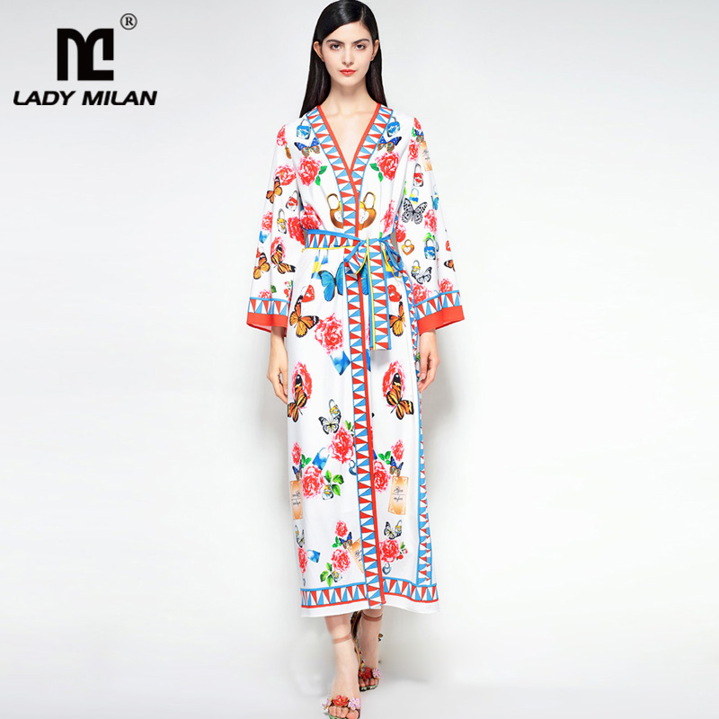 New Arrival 2018 Womens Sexy V Neck Long Sleeves Butterflies Printed Floral Sash Belt Fashion Long Runway Dresses