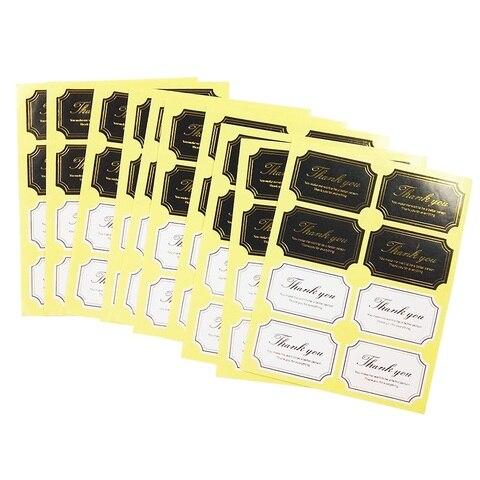 800 pcs lote preto branco selo etiqueta de ouro obrigado voce scrapbooking adesivo obrigado papel