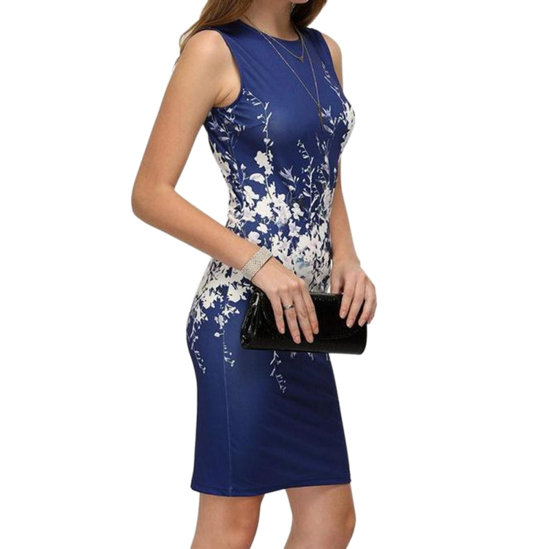 Ladies Summer <font><b>Style</b></font> Elegant <font><b>Women</b></font> <font><b>Sexy</b></font> Bodycon Knee Length <font><b>Dresses</b></font> Office Lady <font><b>2018</b></font> <font><b>New</b></font> <font><b>Sleeveless</b></font> <font><b>Dress</b></font> Floral Printing image