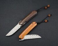 D003 folding knife damascus steel folder pocket EDC wood handle high quality knives outdoor