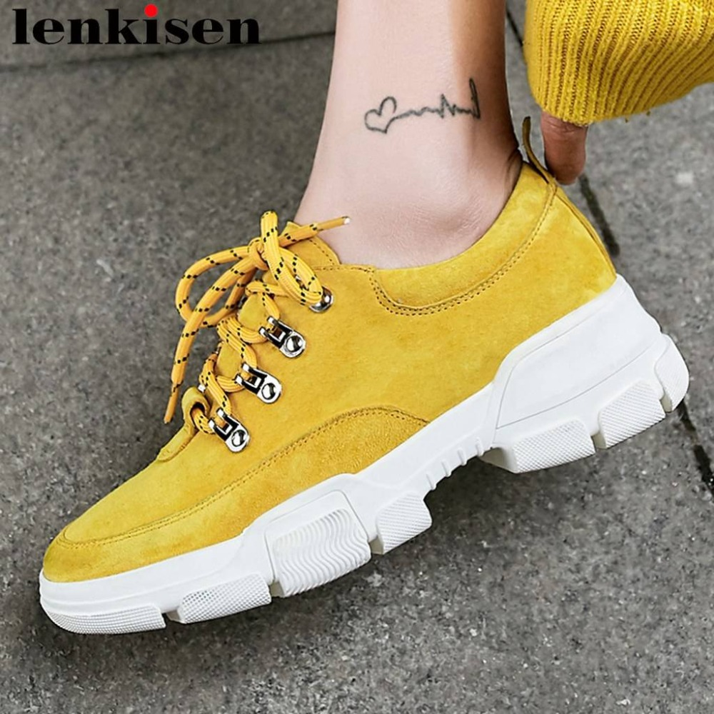 Lenkisen concise style pig leather thick bottom platform lace up sneakers preppy style campus daily wear