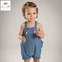 DB5029 Dave Bella Summer New Born Baby Girls Cotton Romper Blue Denim Romper Infant Clothes Girls