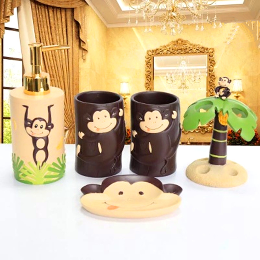 Lovely Home Decor Child S Room Decoration Naughty Monkey Bathroom Accessories Set 5 Pieces Set Personalized Gift