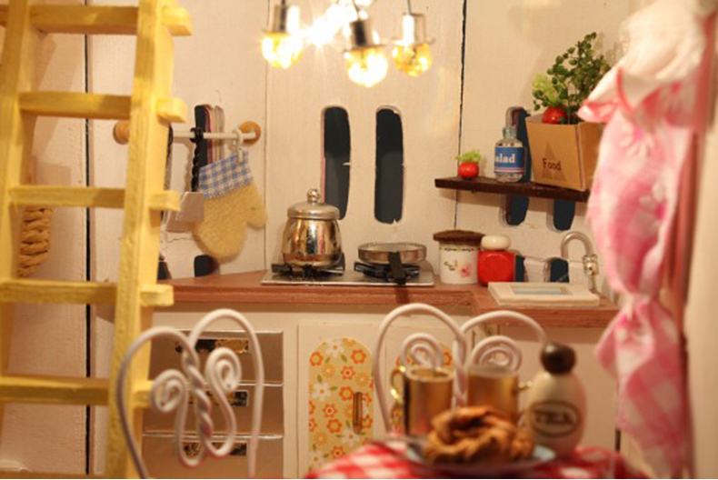 Perabot DIY Doll House Wodden Miniatura Doll Houses Furniture Kit - Anak patung dan aksesori - Foto 6