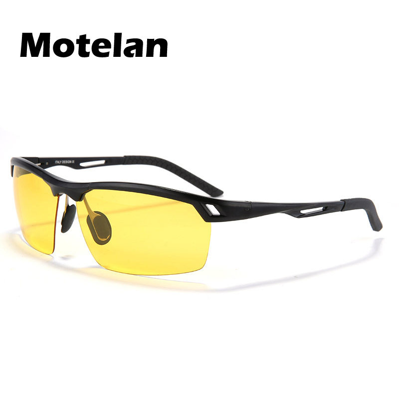 2017 New Yellow Lens Night Vision Polarized Sunglasses Mens Anti-Glare Goggles Driving Glasses Black Silver Gold 3 Colors 9550