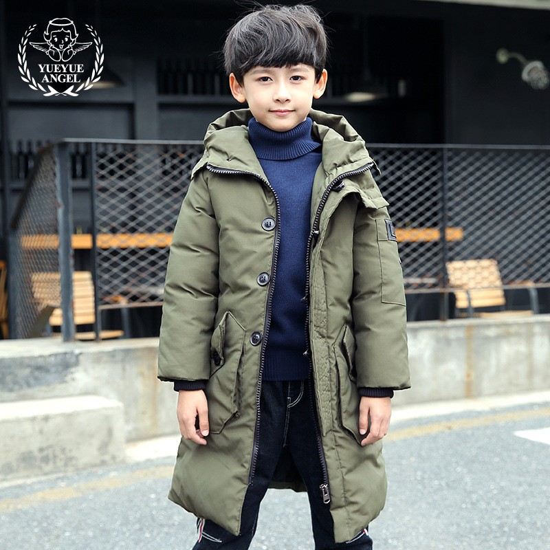 High Quality Winter Overalls Boys Thick Windproof Snowsuit Kids X-Long Coat Zip Hooded Overcoat Boy Baby Army Green Parkas Child