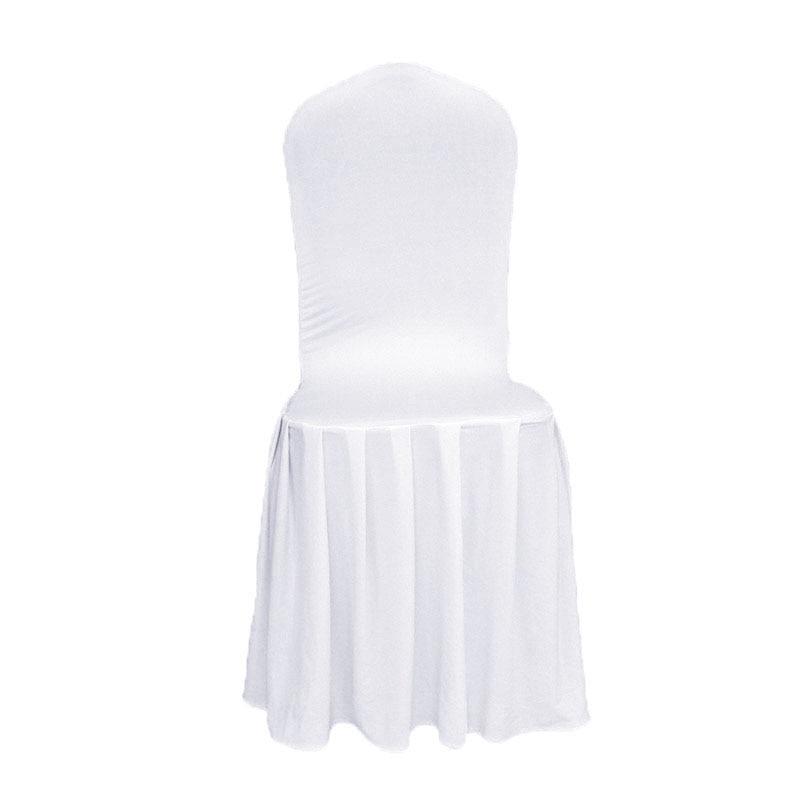 Livia Acara Tex Putih Lycra Selimut Kursi Skirting Lipit untuk Acara - Tekstil rumah - Foto 1