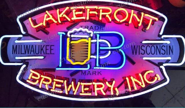 Custom LAKEFRONT BREWERY ING Neon Light Sign Beer Bar