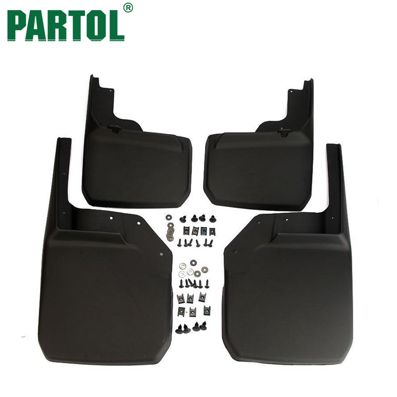 Partol 4x Black ABS Plastic Car Splash Guards Mud Flaps Set Mudguard Front Rear Left Right For Jeep Wrangler JK 2007-2015 windshield pillar mount grab handles for jeep wrangler jk and jku unlimited solid mount grab textured steel bar front fits jeep