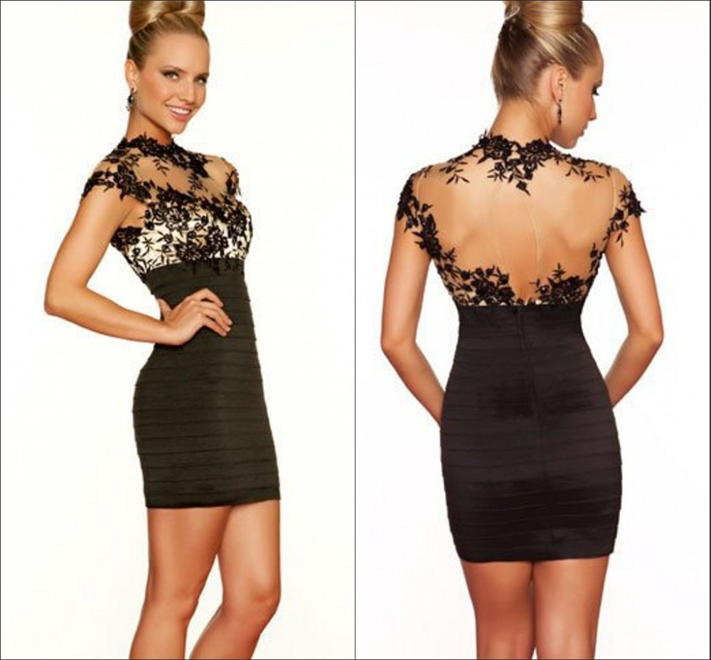 High Neck Black Lace Short Mini Cocktail Dress plus size dresses ...