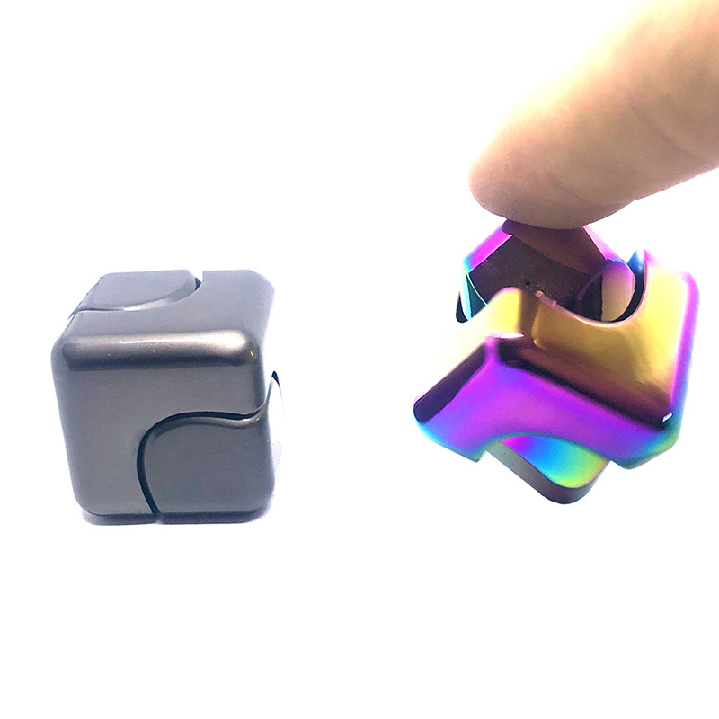 Alloy Spinner Cube EDC Anti Stress Cuber Party Favors Mini Square Finger Spinner Toys Autism Puzzle Fidget Hand Stress Relief