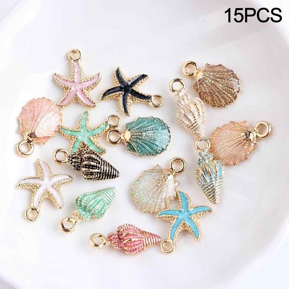 BLUELANS 15 Pcs/Set Colorful Shell Conch Starfish Enamel Charms Shell  Charms for Bracelet Necklace Jewelry DIY Craft Accessory