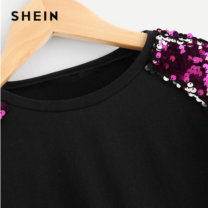 79239fcd37b0 SHEIN Black Turtleneck Casual Kids Sequin T Shirt Girls Tops 2019 Spring  Korean Fashion Half Sleeve Children Girls Shirts Tee-in Tees from Mother &  Kids on ...