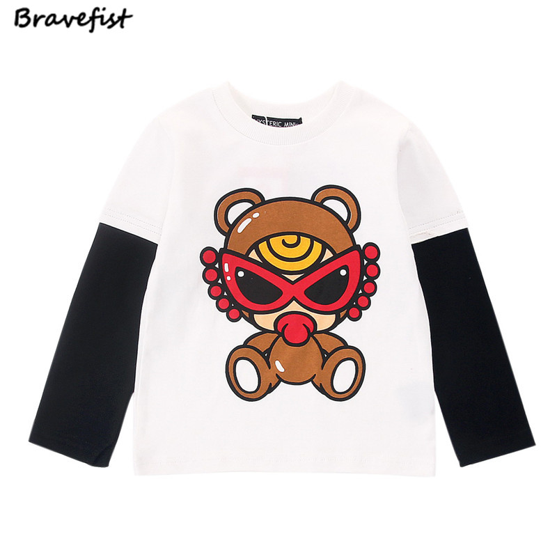 Cartoon Baby T shirts Black/Red Toddler Infant Cotton Autumn Spring Hoodies Long Sleeve Bottoming Sweashirt Kids Outwear Clothes