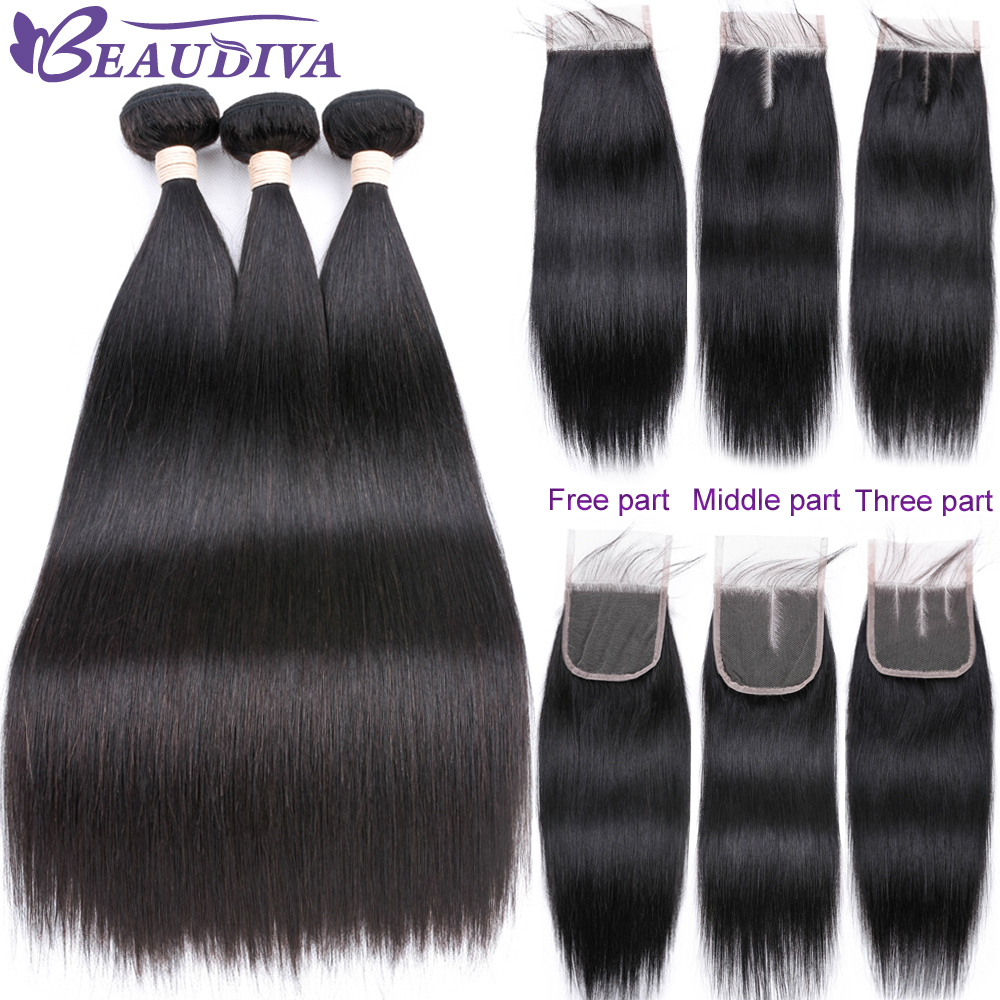 Beaudiva Hair Transparent Lace Closure with Bundles NonRemy Peruvian Straight Human hair Bundles with Lace Closure