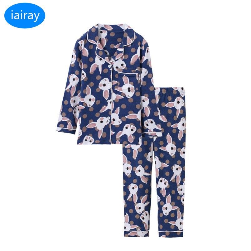 iairay 2pcs girls sleepwear pyjamas kids pajama set sleep pants autumn long sleeve pijama pink cotton fabric children pajamas цена