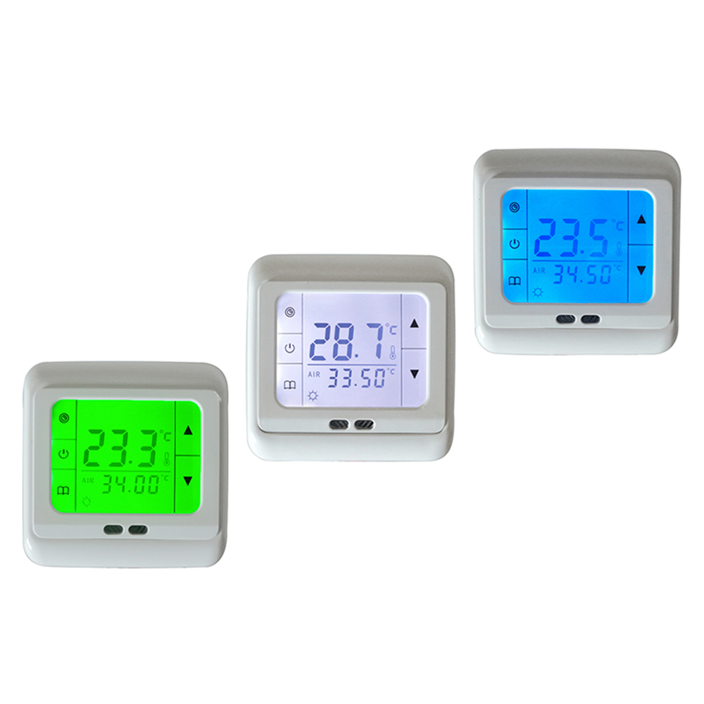 Electric Under Floor Heating Thermostat Auto Control Room Temperature Controller System White/Blue/Green LCD Backlight