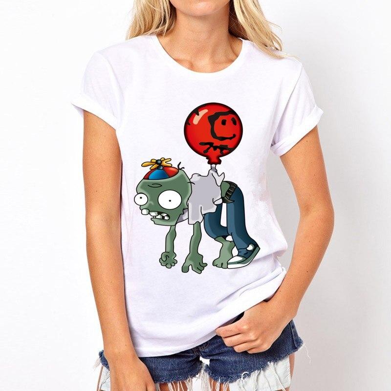 Topjini 2017Summer New Fashion Women T-shirt Plus Size 6XL Female Character Plant Zombies Print T-shirt Loose O-neck 5XL T-shirt