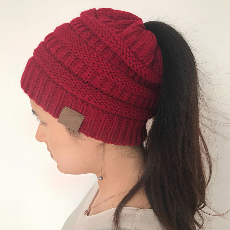 BBYES New Women Girl Ponytail Beanie Hats Stretch Knitted Hat Messy High  Bun Ponytail Beanie Winter Warm Hole Cap 10 Colors cb10b462ec1