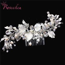Romantic Handmade Freshwater Pearl Bridal Hair Combs Wedding Hair Accessories Comb Women Girl Headpiece Decoration RE3127 цена в Москве и Питере