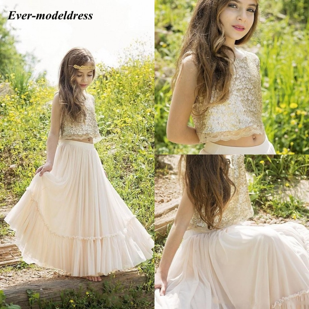 Two Pieces   Flower     Girls     Dresses   For Wedding Sequined Chiffon Pleats Kids Birthday Party Gowns robe mariage fille