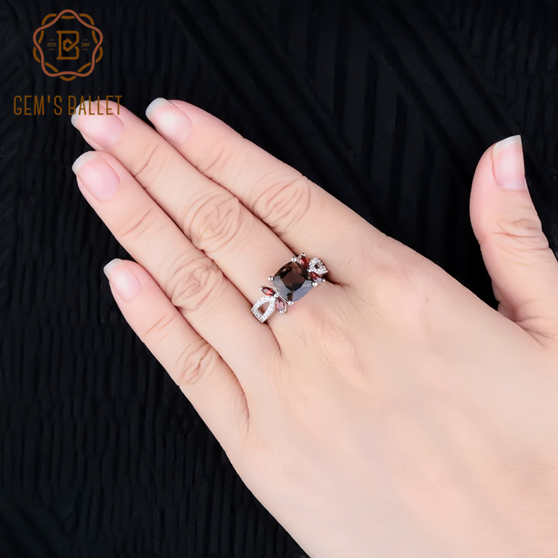 Gem's Ballet Square 3.67Ct Natural Smoky Quartz Gemstone Rings For Women 925 Sterling Silver Engagement Ring Fine Jewelry