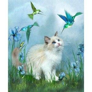 Новый Кот Алмазный вышивки крестом Craft Пластик Сумки-холсты синяя птица и Белый Кот в пастбища алмаз вышивка мозаика Книги по искусству