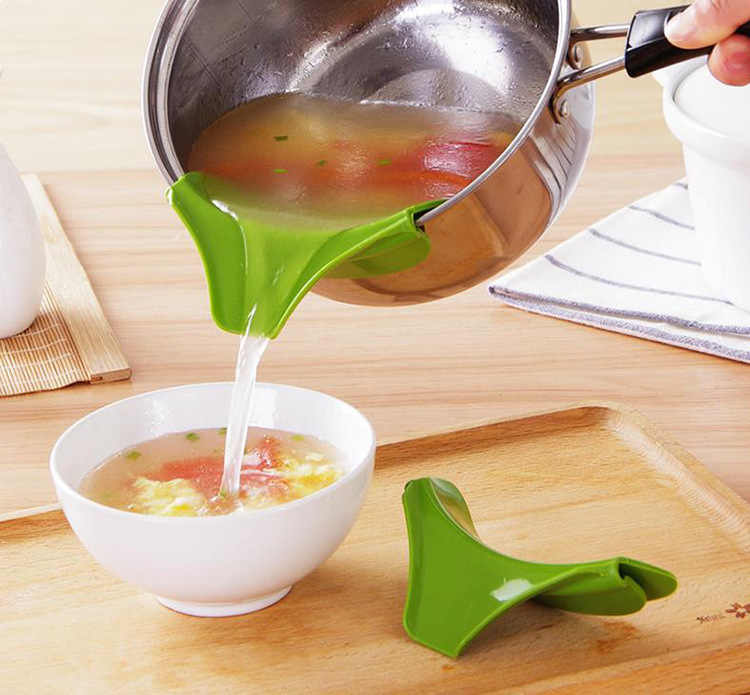 mling 1PC Kitchen Special Anti-slip Pan with Round Mouth Edge Deflector Liquid Diverter Pouring Soup Water Kitchen Gadget
