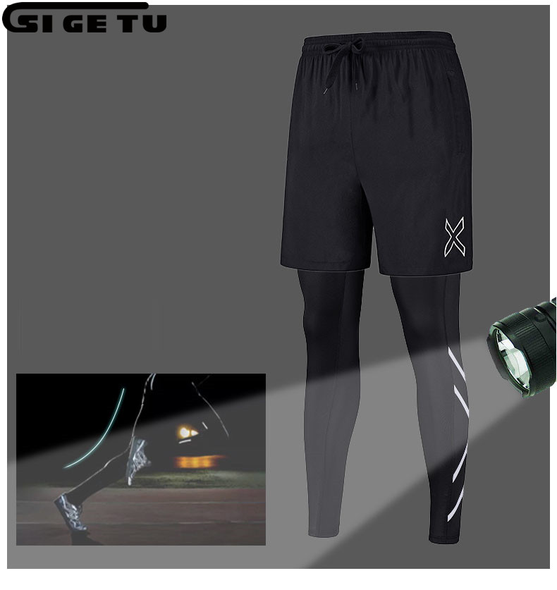54df8844c1 Aliexpress.com : Buy 2018 New 2 Pieces Sports Leggings Running Tights Suit  Men Skins Compression Tights Quick Dry Fitness Gym Running Clothes from  Reliable ...