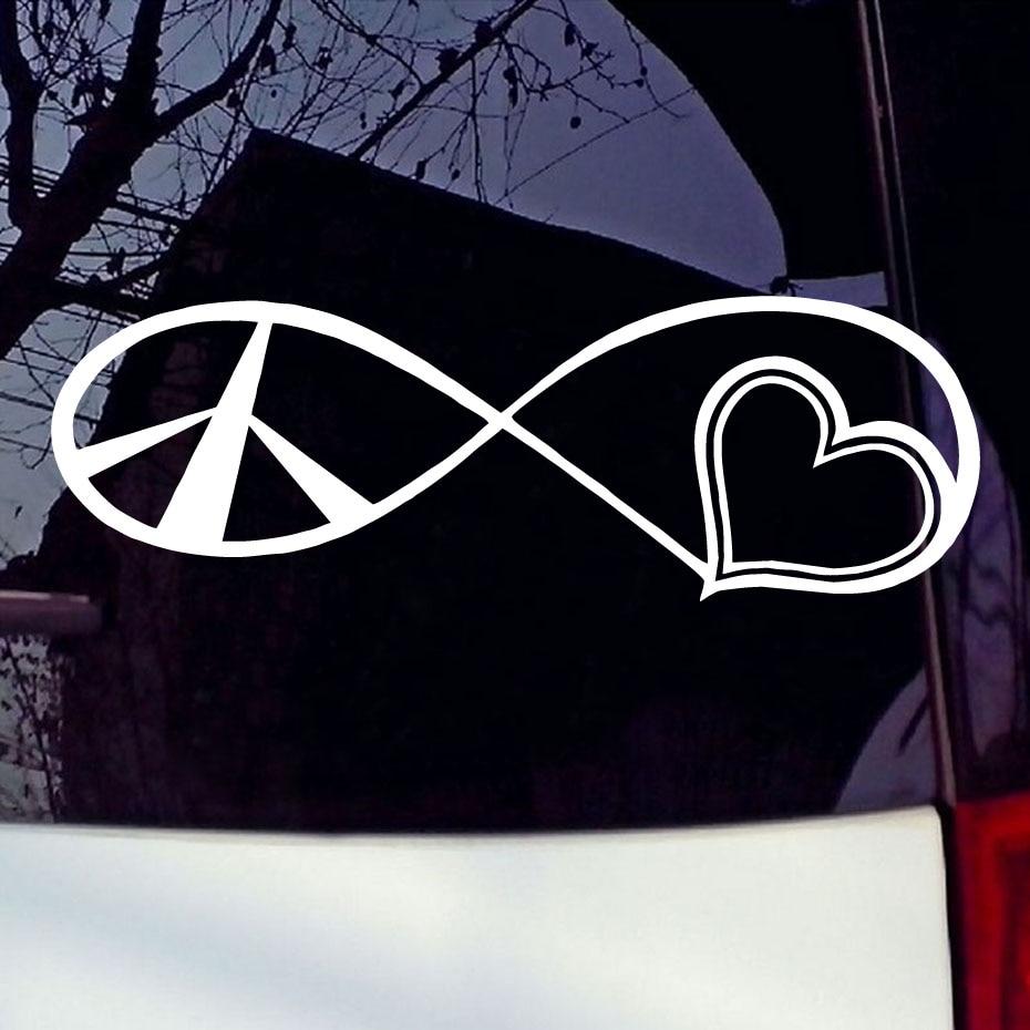 Design a car sticker online - Peace Love Vinyl Decal Car Sticker Car Window Bumper Macbook Symbol Family Design Car Styling Accessories