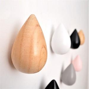 Image 5 - 1 Pcs Wood Wall Hanger Water Drop Shaped Hook Door Back Hanger Key Holder Decorative Hooks Bag Handbag Hat Clothes Wooden Hook