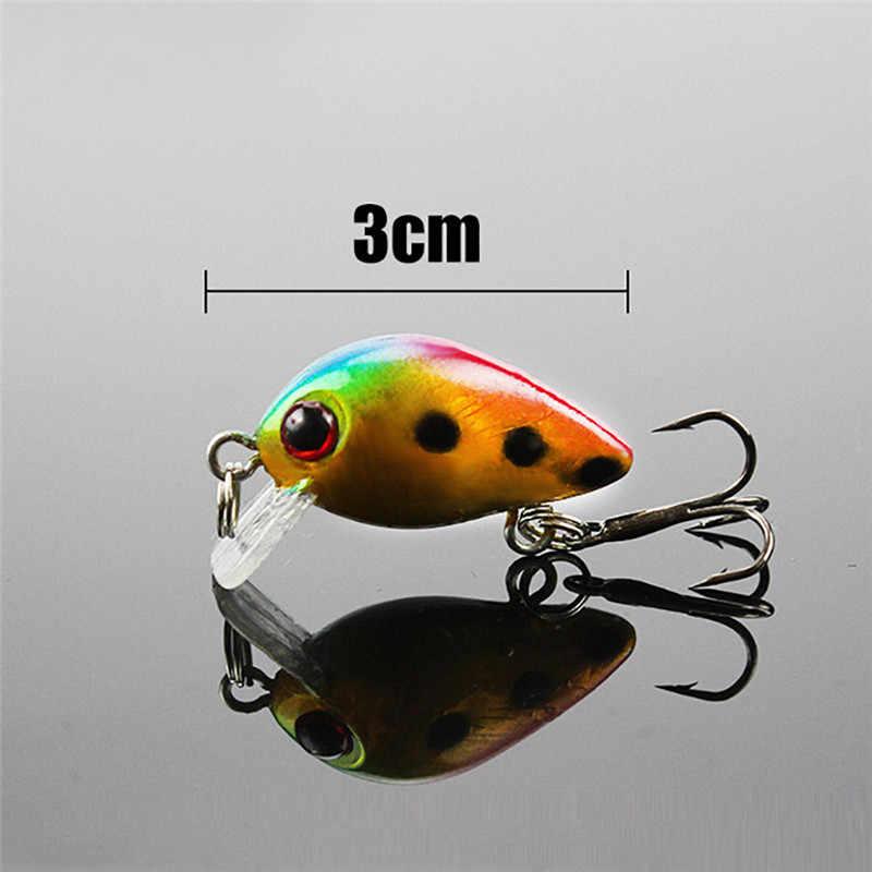 10 Uds 3cm cebo de pesca señuelo cebo duro Topwater Wobbler Mini cebo de pesca crankbait con 2 ganchos A10 AU15
