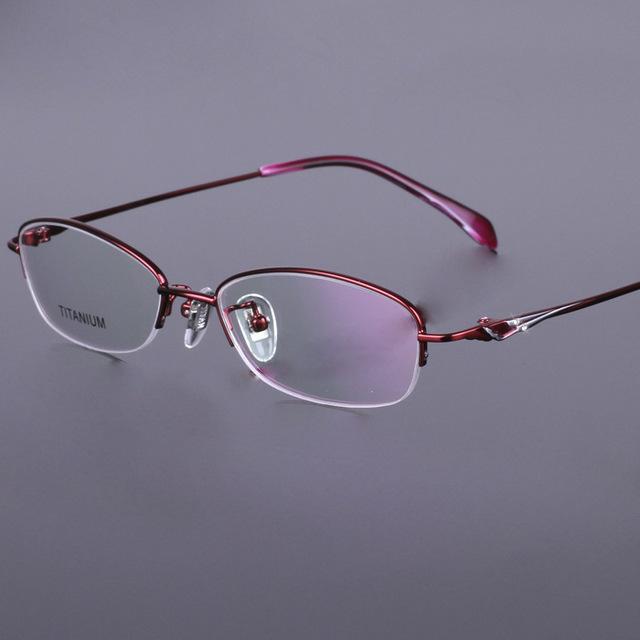 100% Pure Titan Óculos Vermelho Rosa Roxo Top Quality Gafas Mulheres Óculos de Titânio Quadro