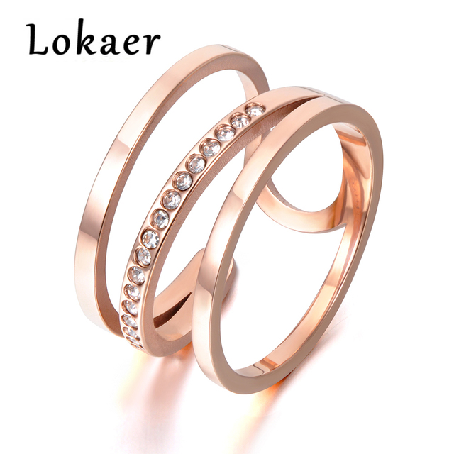 Lokaer Newest Design Titanium Steel Rings Luxury Rose Gold Color Micro Pave AAA Cubic Zircon Wedding Ring For Women R171390333R