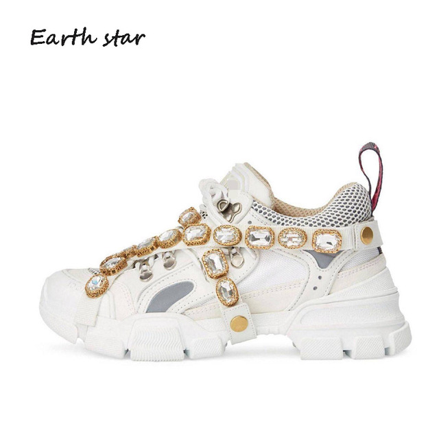 EARTH STAR Casual White Shoes Crystal Brand Platform Sneaker Lady Fashion  chaussure Breathable Female Autumn footware Rhinestone 187ff9d83316