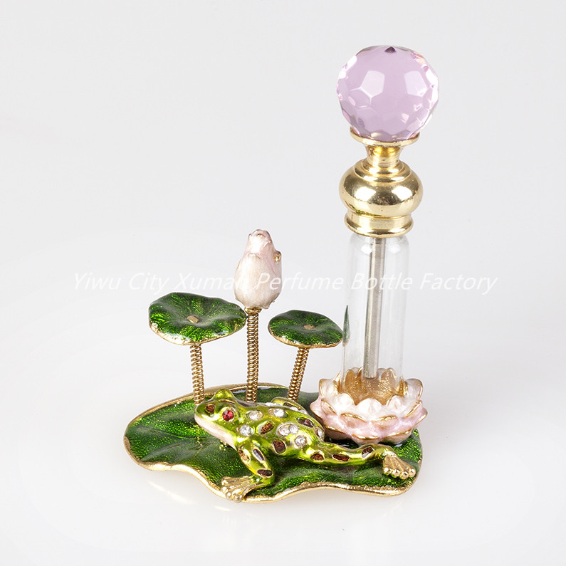 4ml Perfume Bottle Vintage Empty Refillable Bottle Metal Lotus Frog Glass Empty Container Portable Gift Home Decoration#70038
