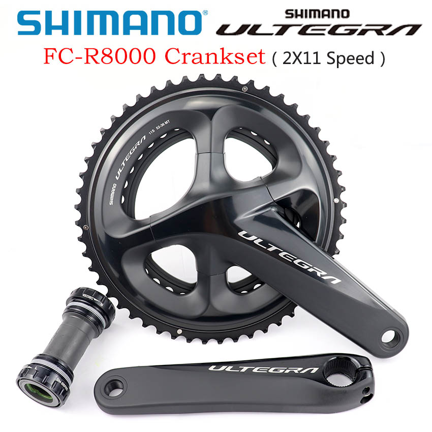 <font><b>SHIMANO</b></font> <font><b>ULTEGRA</b></font> FC <font><b>R8000</b></font> <font><b>Crankset</b></font> <font><b>R8000</b></font> HOLLOWTECH II <font><b>CRANKSET</b></font> 2x11-Speed Road Bicycle <font><b>Crankset</b></font> Hollow Tech II Bike Chain Wheel image