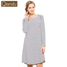 Hot Sale Sleepwear Qianxiu Cotton Nightskirt Summer Stripe Nightgown Women Sleepshirts pijamas mujer 1666