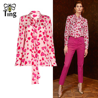 Tingfly New Fashion Designer Sweety Bow Neck Fuchsia Heart Love Print Blouse Female Casual Office Lady Chiffon Shirts Floral Top