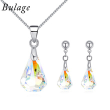 BAFFIN Original Crystals From SWAROVSKI Raindrop Pendant Necklaces Piercing Earrings Jewelry Sets For Women Mother Gifts joyashiny crystals from swarovski classic romantic heart pendant necklaces drop earrings jewelry sets for women lovers gift