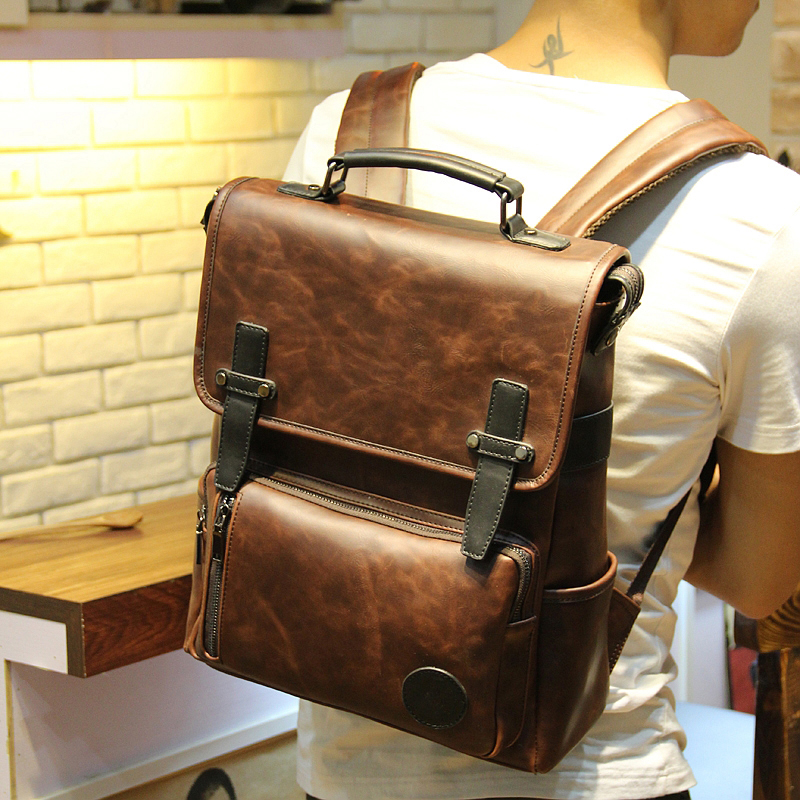 New fashion men leather backpack high quality men s travel bags preppy style men school bags