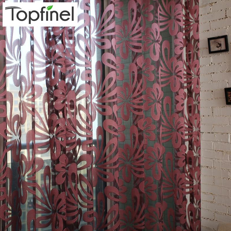 Topfinel Luxus Schatten geometrischen Tüll für Fenster Gardinen für Wohnzimmer Schlafzimmer Küche Jalousie Voile Vorhangstoff